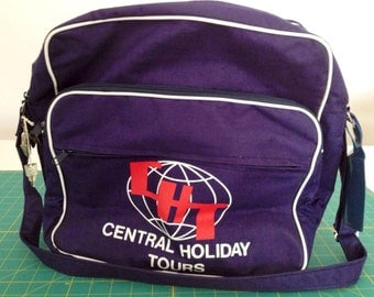 SALE - Vintage 1970s - 1980s Central Holiday Tours canvas travel bag