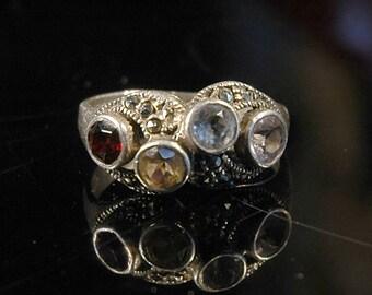 Multi Gemstone Ring, Citrine, Garnet, Aquamarine, Quartz Crystal, Marcasite, Sterling, Hallmarked, Sz 8.25, Beautiful