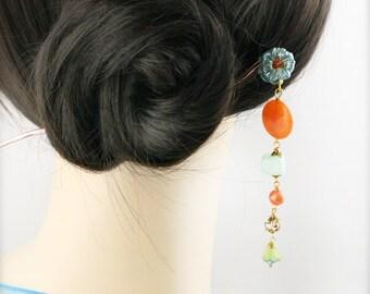 Tangerine mint blossom hair stick (HS) - jade, and quartzite.