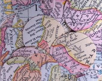 """100 paper die cut vintage MAP circles 1"""""""