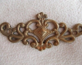 Pair of French Bronze Ornate Furniture Mounts Hardware Salvage