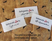 "Signature Personalized Quilting labels=Large size-1.5"" x 3.5"""