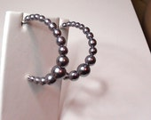 VINTAGE Hoops  Earrings Silver Beaded Half Hoops Lucite Beads 1 1/2 Hoop Possible is made by Avon On Clearance Now