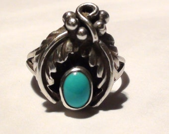 Turquoise Southwest Ring  on 925  Sterlng Silverv High Collectible  Size 7