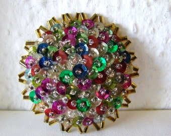 Vintage rainbow beaded sequin cocktail brooch with blue, green, pink, red and clear jewels (I10)