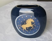 Otagiri Japan Pillow Bud Vase Navy Blue With Gold Unicorn And Stars