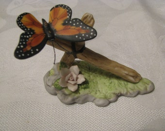 Butterfly On Branch with Pink Flower 1985 Enesco Imports Taiwan