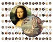 Da Vinci images for 10mm bezel, pendant, buttons, scrapbook and more Vintage Digital Collage Sheet No.1521
