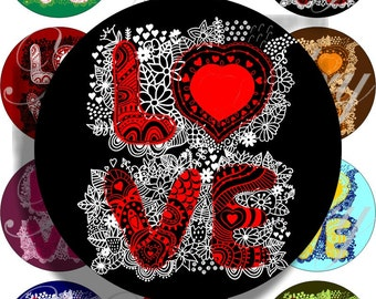 Love for large circles for pocket mirrors and more digital collage sheet No.1429