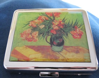 Van Gogh Flowers 8 Day Pill Box with Mirror
