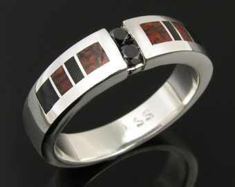 Man's Dinosaur Bone Wedding Ring with Black Diamond Accents, Dinosaur Bone Ring, Dinosaur Bone Wedding Band, Black Diamond Band