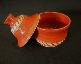 Red Cinnamon Stoneware Lidded Canister