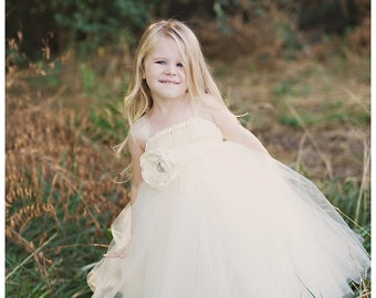 Ivory Tutu Dress with Flower Sash - Flower Girl Dress