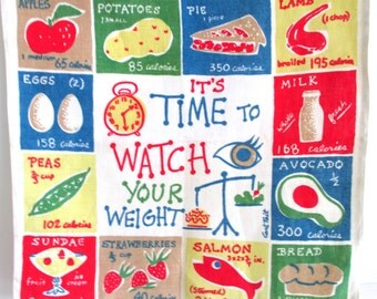 Vintage Towel Calories Carl Tait Watch Your Weight Gift for Dieter