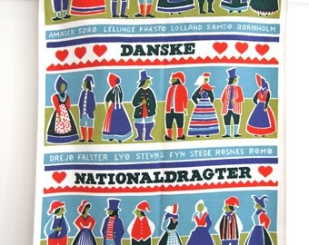 Kitchen Towel Danish Costumes Bright Colors Red Hearts Wall Hanging