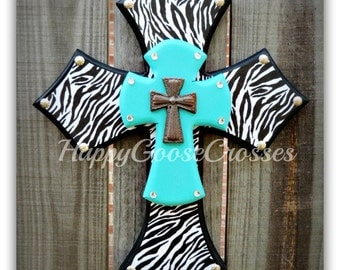 Wall Cross - Wood Cross - X-Small - Black with ZEBRA & Turquoise