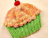 Handmade hand knit Cupcake Hat with Cherry on Top Key Lime Cake Orange Dreamsicle Cream Frosting with Sprinkles