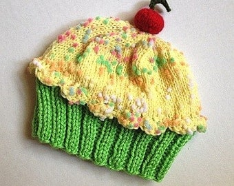 Cupcake Hat kids baby size Lemon Lime with a Cherry on Top Key Lime Green Cake Lemon Sprinkle Frosting Handmade Knit 6 8 12 18 months Adult