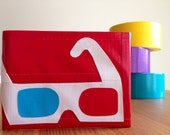 3D Glasses Duct Tape Wallet - Red Bifold