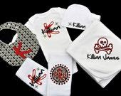Personalized Skull Baby Gift Set / Romper, Cap, Blanket, 2 Burpcloths and Bib / Girl or Boy