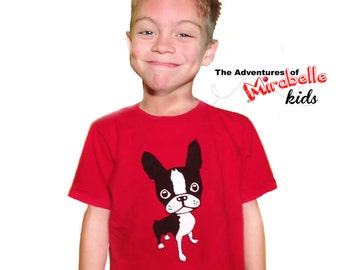 Boston terrier Red KIDS T Shirt The Adventures of Mirabelle