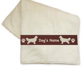 Golden Retriever Dog Bath Towel with Your Dog's Name - Hand Towel, Shower Curtain and Window Valances available, too