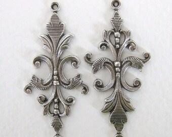 Antiqued Silver Ox Connector Fleur De Lis Bracelet Finding Long 40mm cnn0068 (2)