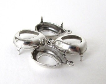 Prong Setting Antiqued Silver Ox Pear Rhinestone Open Back 1 Ring 15x11mm set0259 (4)