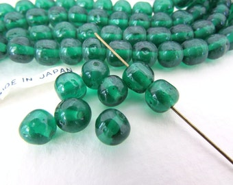 Vintage Japanese Beads Emerald Green Glass Baroque Rounds 8mm vgb0800 (10)