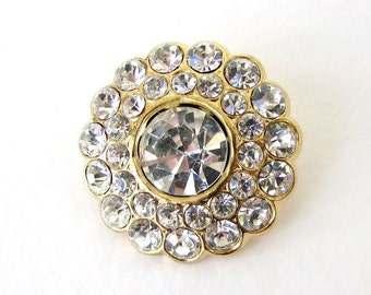 Rhinestone Button Crystal Gold Flower Metal Shank Czech 30mm but0247 (1)