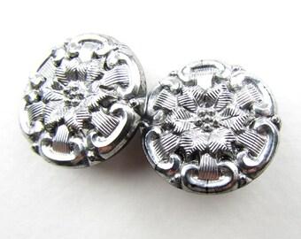 Vintage Glass Czech Flower Buttons Silver Black Sewing Shank 22mm but0244 (2)