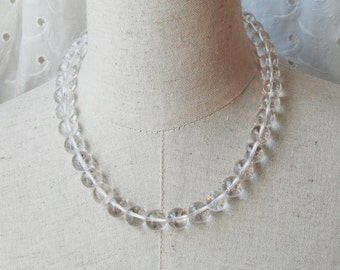 Clear Quartz Crystal Beaded  necklace Translucent Transparent petite Beaded