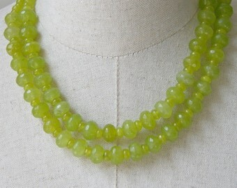 Double Strand Lime Green Peridot Beaded Chunky  Necklace