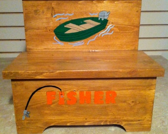 Handmade Custom Painted Fishing Themed Step Stool