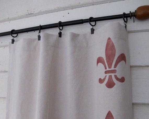 Items Similar To Hand Stenciled Canvas Drapes Fleur De