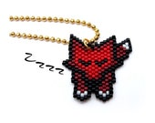 Necklace - Little Sleeping Red Fox - Bright Red, dark Red, Black, White and Gold
