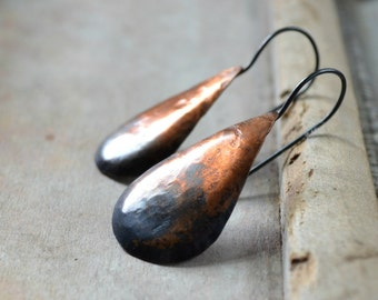 Rustic copper earrings, teardrop earrings, ombre patina, sterling silver earrings, modern earrings, hammered metalwork - Small Ombre Tears