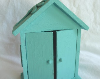 handpainted House, display, aqua color, unique home decor, recycled art, wooden house, small house, shabby, cottage chic,dragonfly,butterfly
