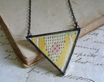 Antique Lace Triangle Bib Necklace Vintage Colored Lace Jewelry