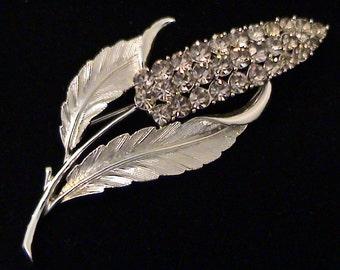Large Vintage CORO Black Diamond Rhinestone Floral Brooch