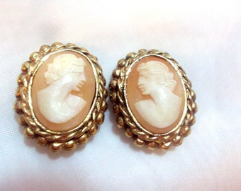Vintage Shell Cameo Clip Earrings Left and Right Facing