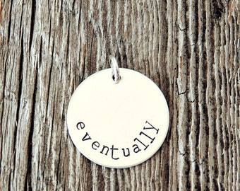 Round Sterling Silver Charm (7/8 inch), Stamped Silver Charms, Handstamped Sterling Silver Charm