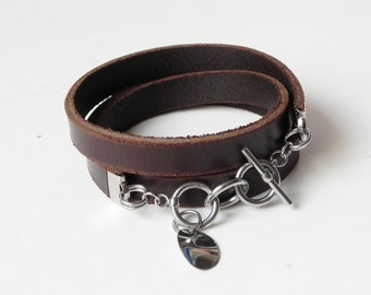 Brown Wrap Leather Bracelet Leather Cuff Her Bracelet with Stainless Clasp and Charm