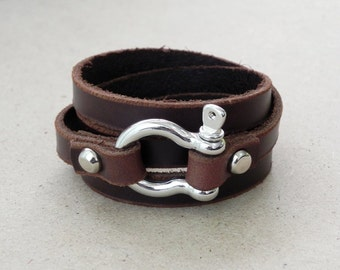 Leather Bracelet Leather Cuff  Wrap Bracelet Brown Color with Stainless Omega Clasp