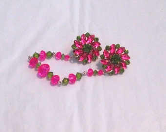 Sweater Clip/Guard Vintage Inspired Hot Pink and Olive Green Rhinestone Bling