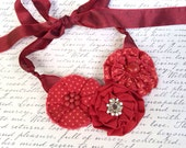 Three Flower Fabric Adjustable Statement Necklace with Satin Ribbon Tie Closure - Red, White, Polka-Dot