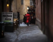 Italian Style Fine Art Photography Italy Sienna Street style cobbled alley Red raincoat fashion in life lone woman ancient city stylish art