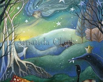 An art print for a fairy tale xmas . 'Yule'. by Amanda Clark.