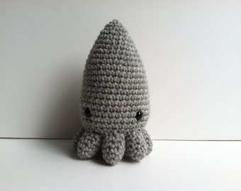 Amigurumi Crochet Heather Gray Squid Plush Toy Kawaii Plush Squid Nursery Decor Gift Under 25 Stuffed Animal Squid Plushie Squid Stuffed Toy