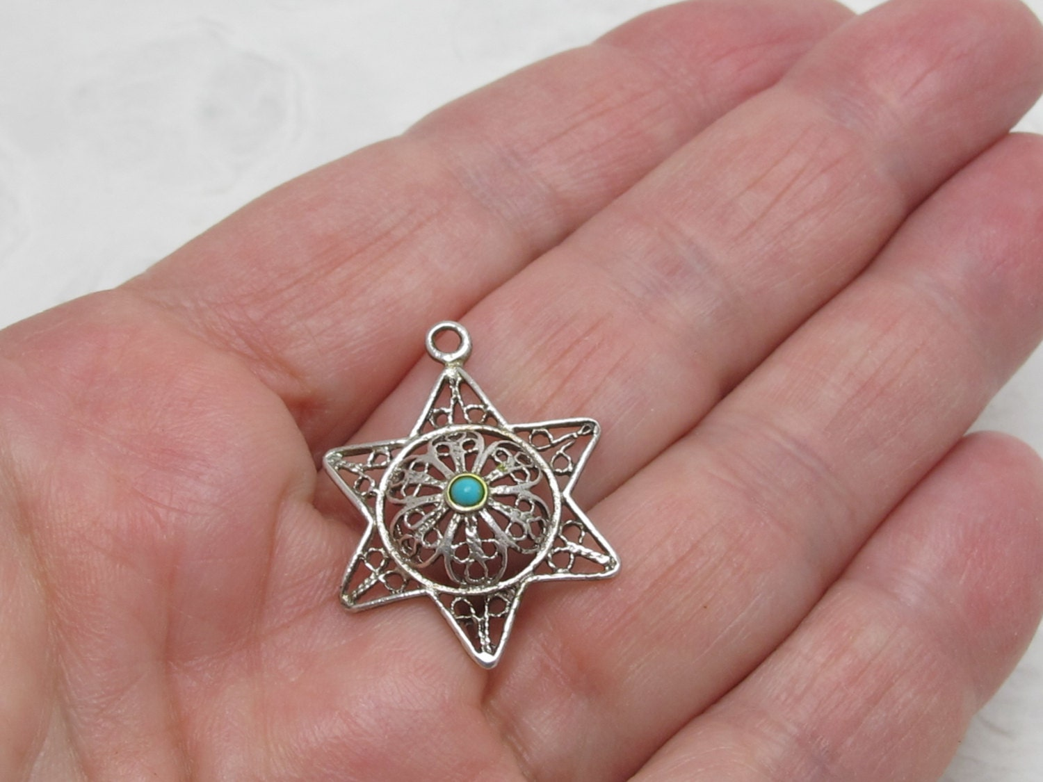 Vintage Filigree Silver Star Of David Pendant/Charm With Turquoise